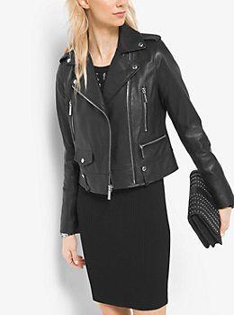 Vêtements de créateurs pour femmes. Veste de moto en cuir by Michael Kors 3642cb35a41