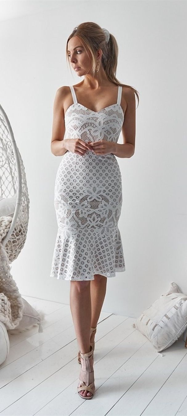 Sheath straps kneelength white lace homecoming party dress