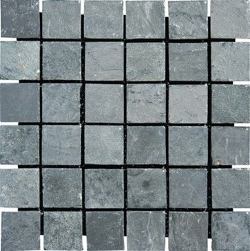 China Black Tumbled Mesh Mounted Slate Mosaic Tiles 2 X 2