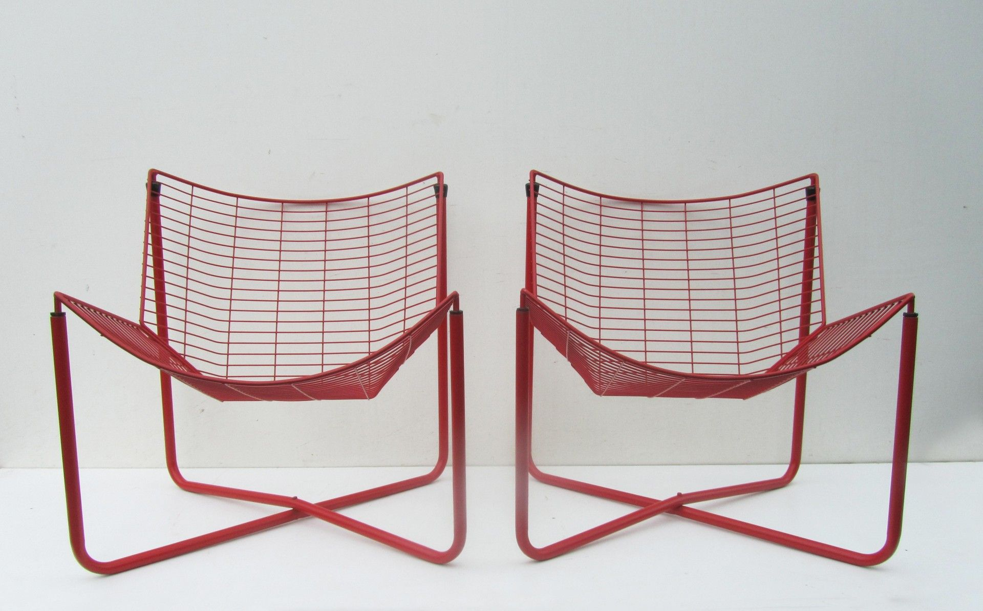 Red Metal Wire Jarpen Chairs By Niels Gammelgaard For Ikea, 1983, Set Of 2