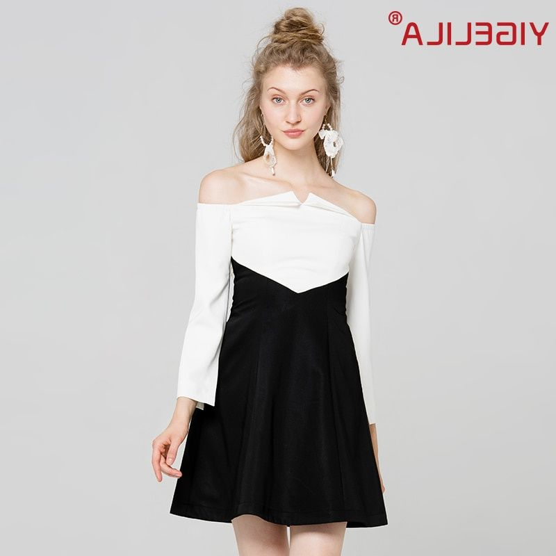 #yigelila #2017 #latest #autumn #women #fashion #slash #neck #three #quarter #sleeve #black #white #patchwork #shoulder #party #dress #63034 #dresses