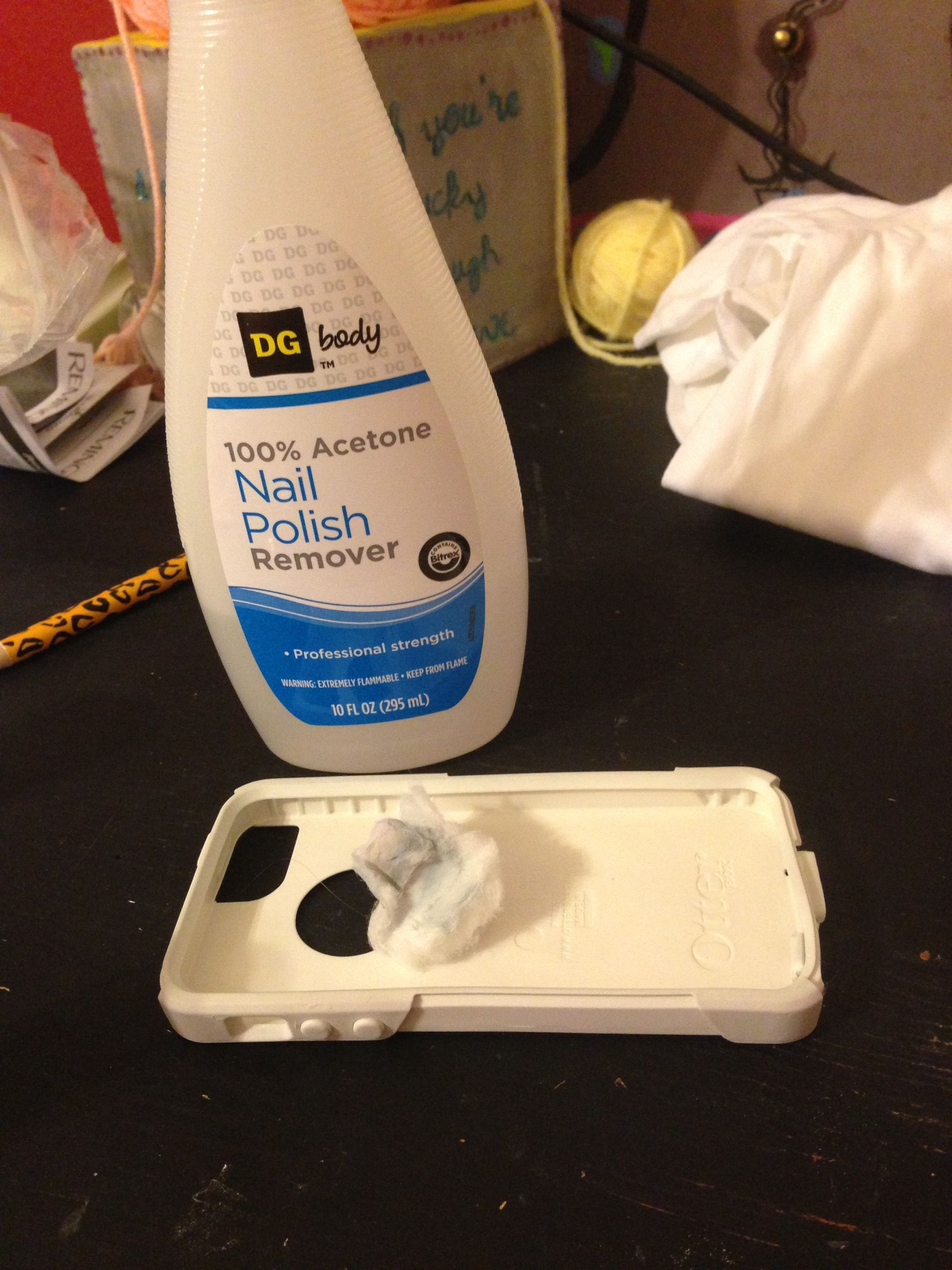 Cotton ball with nail polish remover is actually cleaning