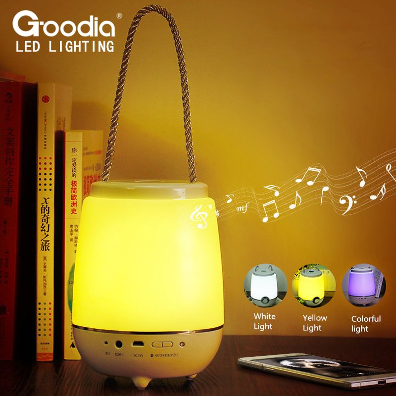 Portable Bluetooth Audio Night Light Usb Rechargeable Led Dimmer Eye Protect Touch Table Lamp With Speaker Colorful Light Renovat Night Light Lamp Desktop Lamp