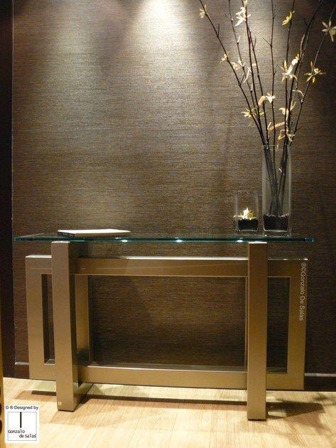 Mesa consola rectangular de hierro y vidrio thasos mesa for Mesa de comedor de vidrio rectangular