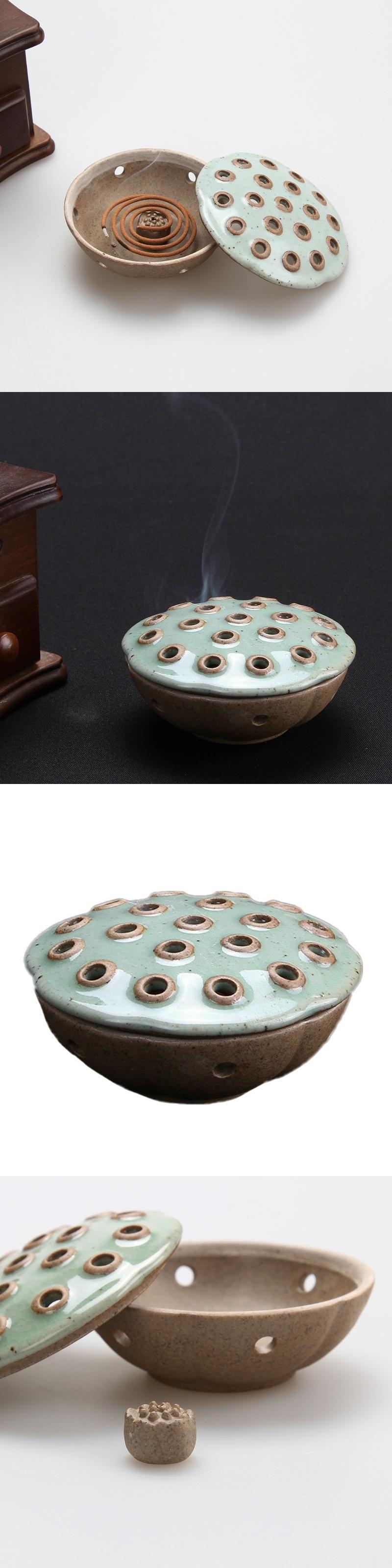 Ruyao Lotus Censer Ceramic Incensory Home Furnishing Decoration Lotus Aroma  Burner Coil Incense Burner Q