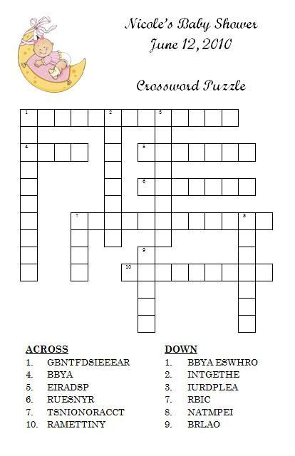 Personalized Crossword Puzzle Baby Shower Game By Momof2girlz 400