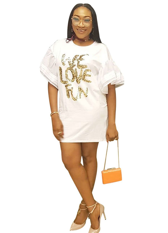 Burnt orange dress plus size  WE LOVE FUN Ruffle Sleeve Tee DressMini DressDressesSexy Lingeire