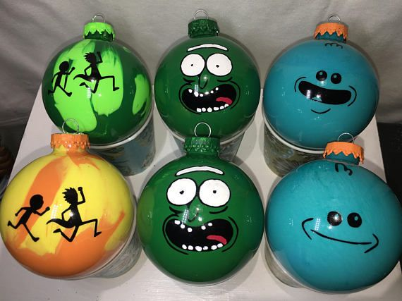 limited rick and morty christmas ornament set of 6 pickle rick