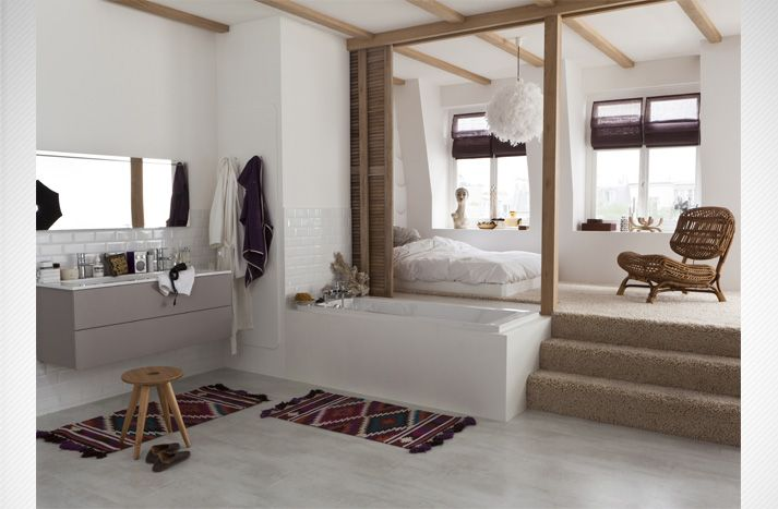 Tapis + salle de bain ouverte sur chambre ΜΠΑΝΙΑ Pinterest Art