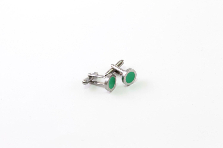 Handcrafted Green Round Cufflinks.