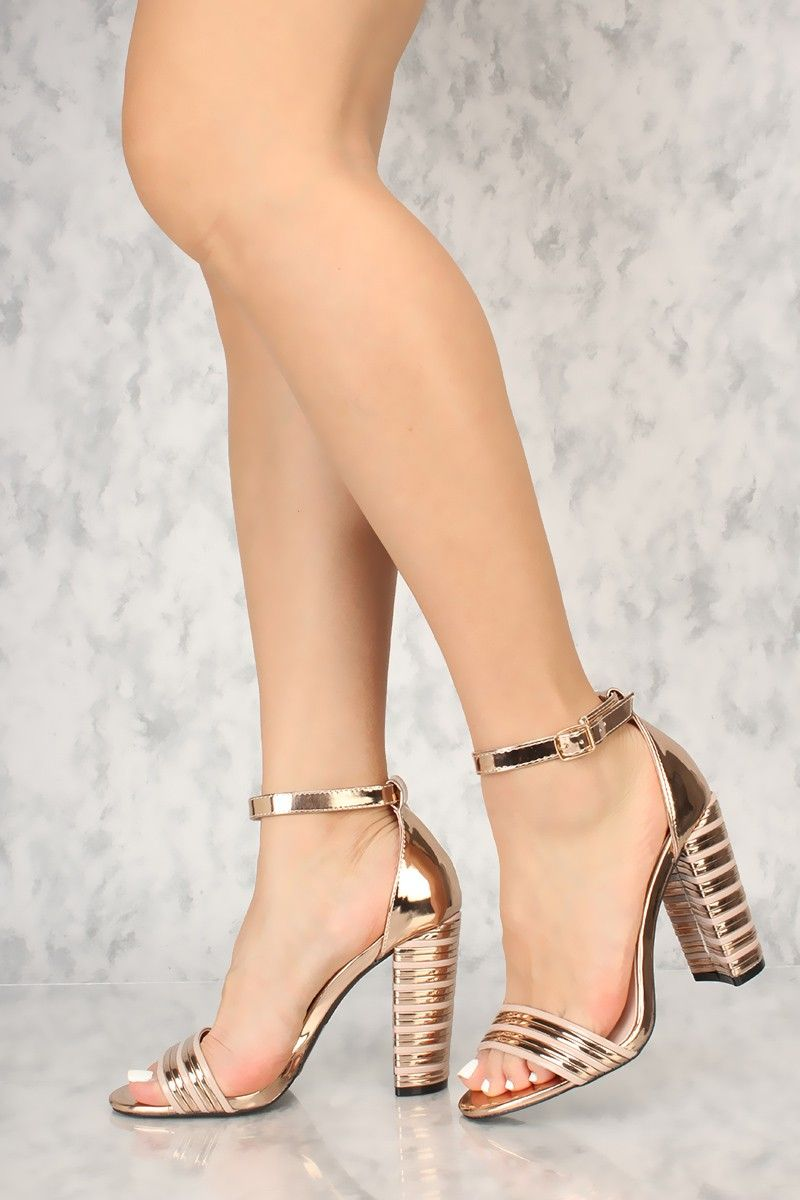 96fdcb9938ca Sexy Rose Gold Ankle Strap Chunky Heel Texture Single Sole