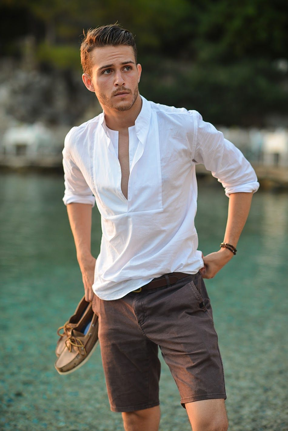 Men's White Linen Long Sleeve Shirt, Brown Shorts, Brown Leather ...