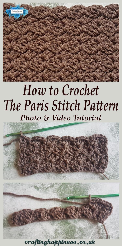 Crochet Paris Stitch Free Tutorial | Crafting Happiness #crochetstitchespatterns