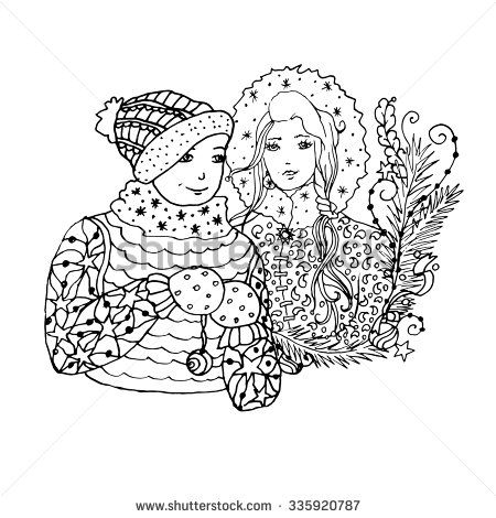 Black Vector Mono Color Illustration With Brother And Sister For ...