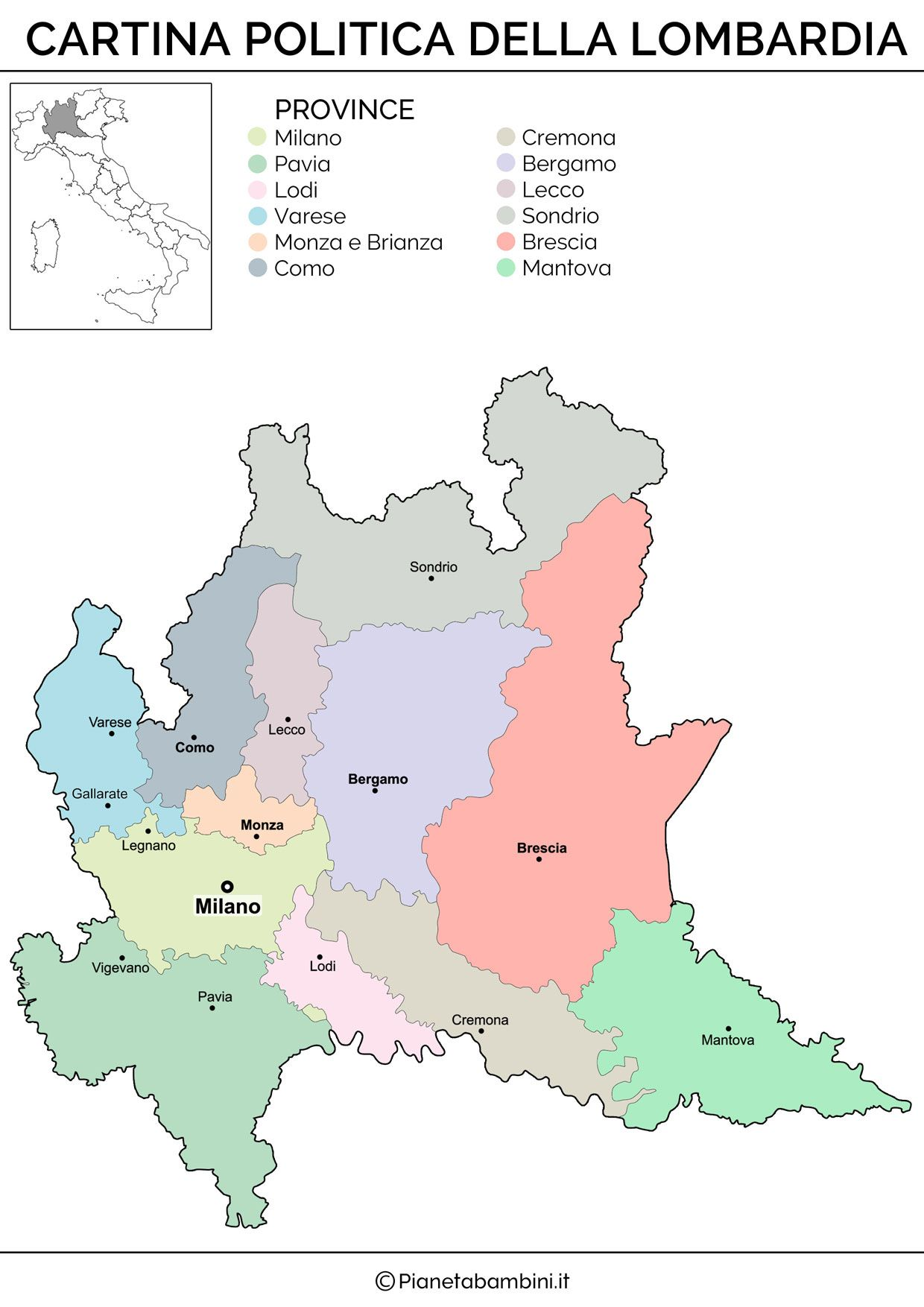 Cartina Italia Politica Lombardia.Cartina Muta Fisica E Politica Della Lombardia Da Stampare