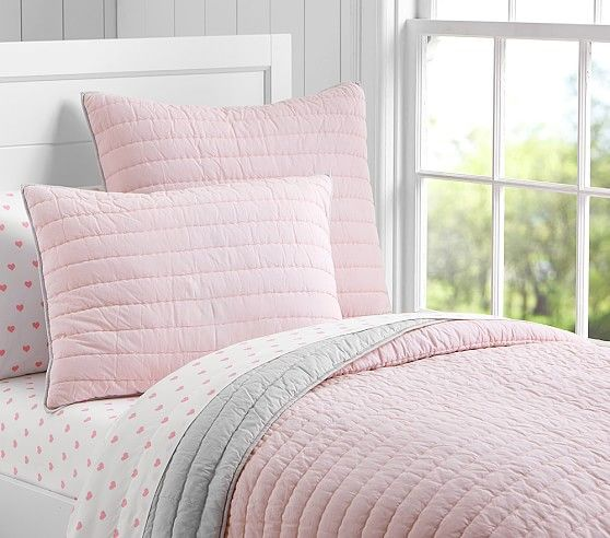 Branson Organic Reversible Quilted Bedding Pink Bedroom For Girls Pink And Grey Room Girl Beds