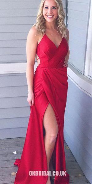 d20028f02e7 Red Backless Sexy V-Neck Sheath Prom Dress