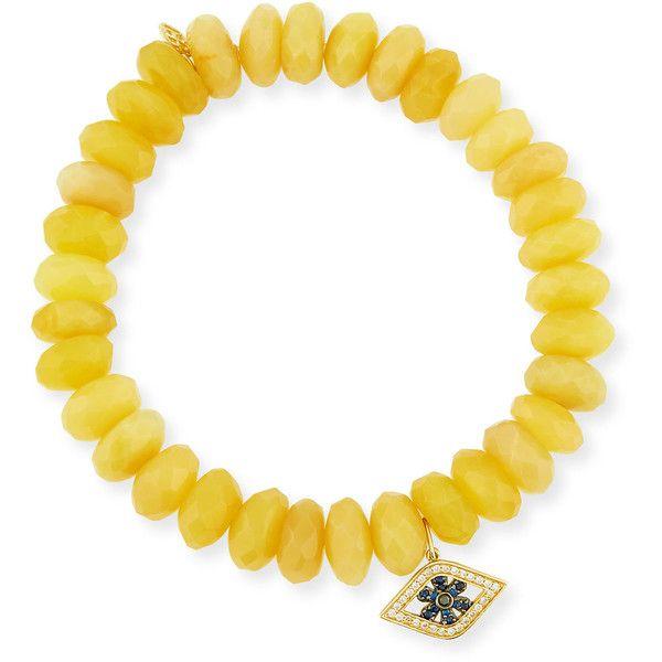 Sydney Evan 10mm Prenite Beaded Bracelet w/14K Gold Diamond Flower Charm fTxJY