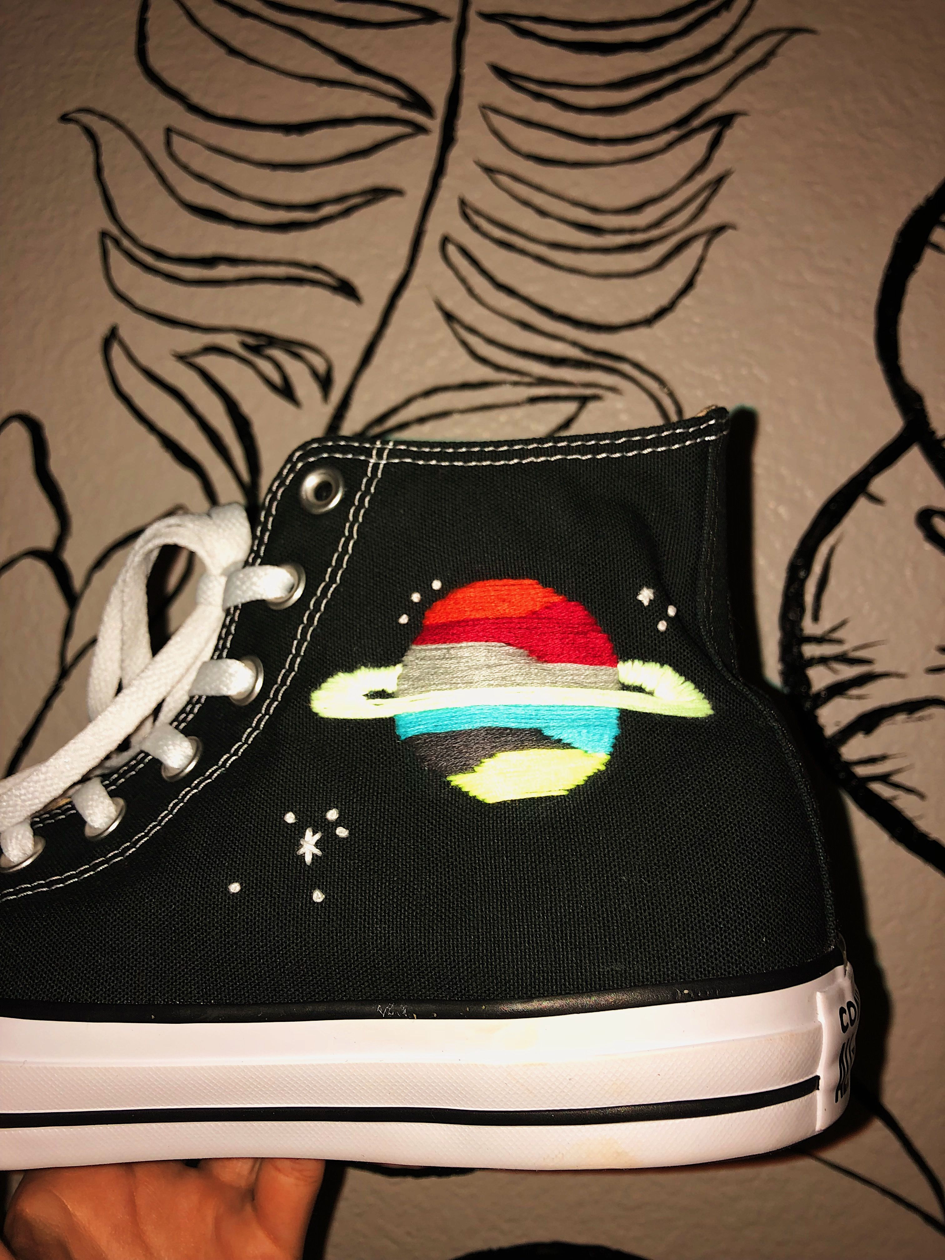 Hand Embroidery Space Converse Shoes Made By Heyoldschoolthreads Embroidery Shoes Embroidery Shoes Diy Embroidered Shoes