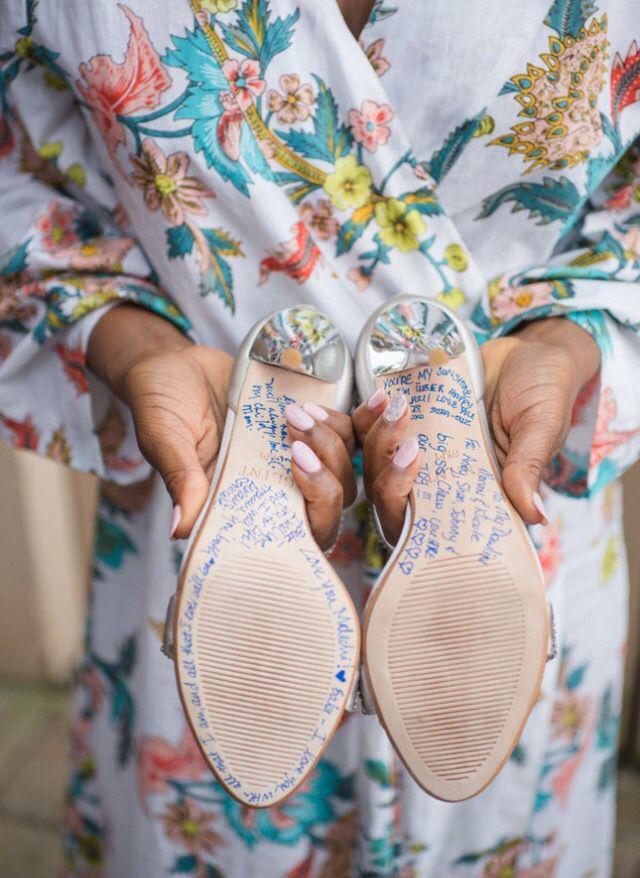 Bridesmaid signed shoe