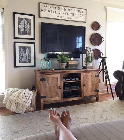 Decorating Around Tv Something Long And Narrow Above And Different Height Shape Items On Either Side I Like The Home Decor Baskets Decor Around Tv Tv Decor