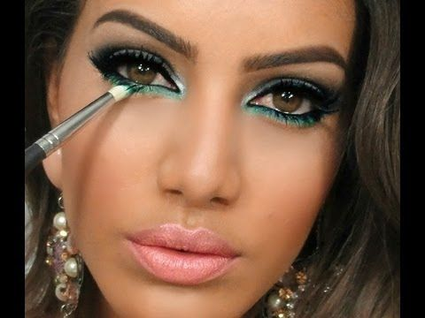 color turquesa verde maquillaje de ojos de noche turquoise green evening night eye makeup. Black Bedroom Furniture Sets. Home Design Ideas