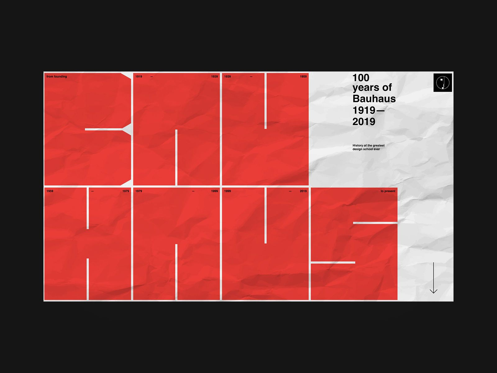 Bauhaus 100 Years By Viacheslav Olianishyn For Obys Webdesign Typography Red Lettering Design Graphic Design Layouts Bauhaus