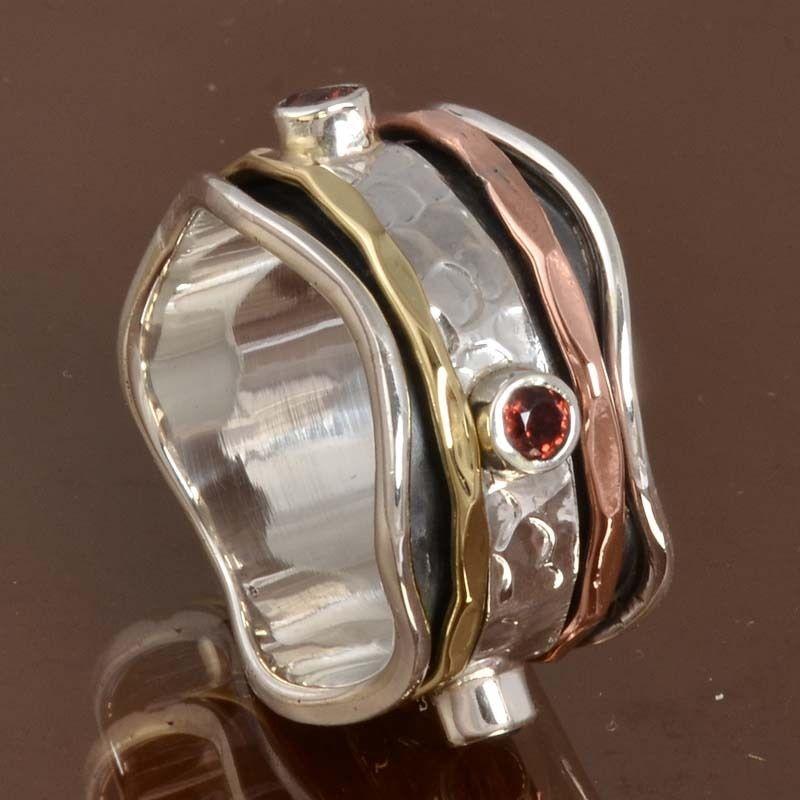 925 Solid STERLING SILVER Garnet Spinner RING JEWELRY 8.13g DJR10010 SZ-8.75…