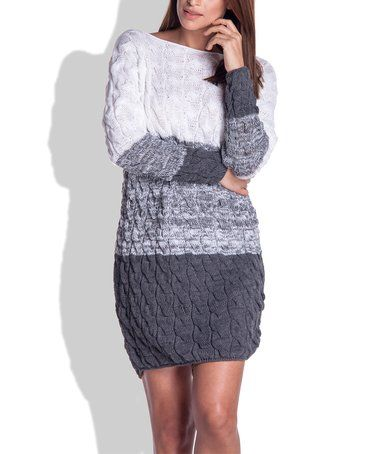 4077ea75640 Another great find on  zulily! Gray Color Block Cable-Knit Sweater Dress   zulilyfinds