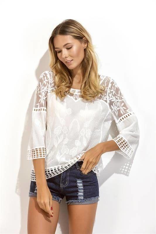 Blusa Branca com Renda e Tule - Ref.1121  23cb11f95e9