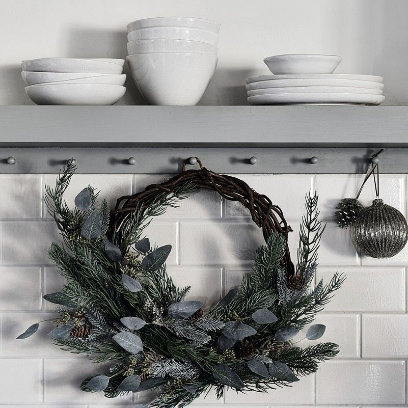Frosted Green Pine Cone Wreath Home Accessories Sale The White Company Christmas Decorations Christmas Decorations Online Christmas Wreaths