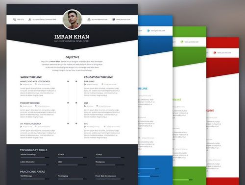 free resume template psd 4 color 1 graphic desingers template - colorful resume template free download