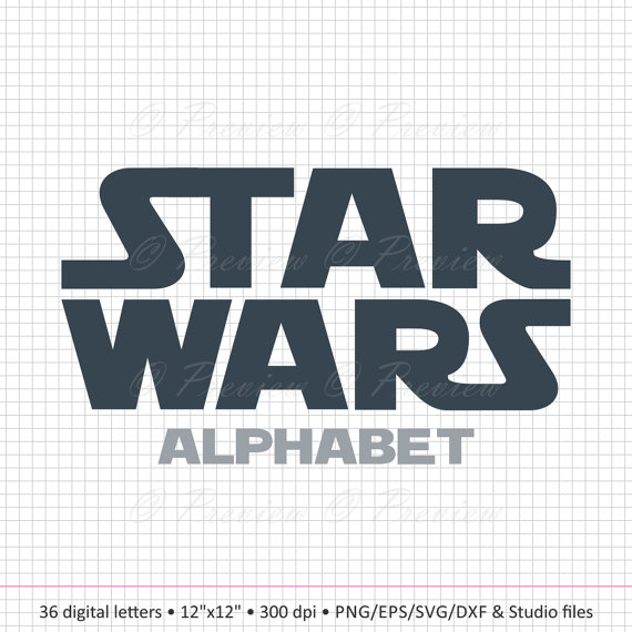 Buy 2 Get 1 Free! Digital Clipart Star Wars Alphabet