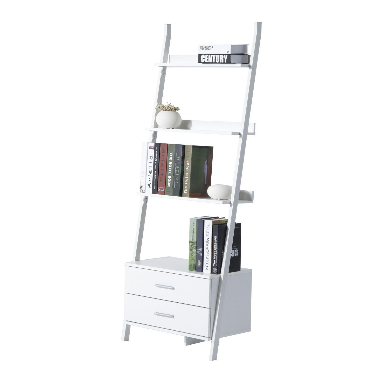 Ladder bookcase tier modern leaning book magazine wooden shelf