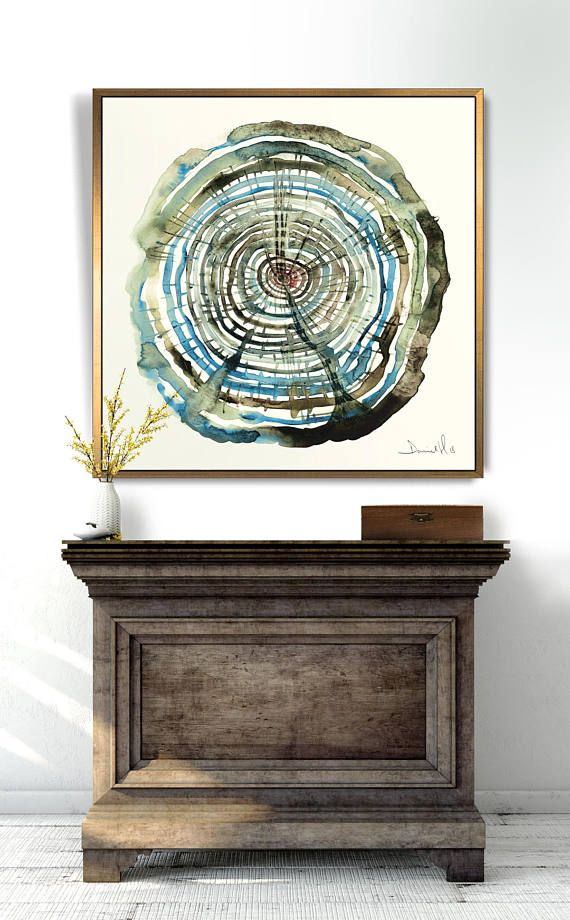 Photo of Oak Tree Rings, Large Wall Art, Watercolour Print, PRINTABLE Wall art, anniversary gift, Boho Art Print, Tree Rings, Cut Log Print, log