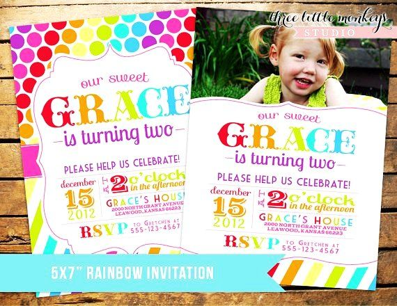 custom rainbow polka dots stripes or candyland invitation