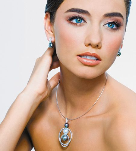 18ct Tahitian Pearl And Diamond Earrings Necklace Kennedy Jewellers