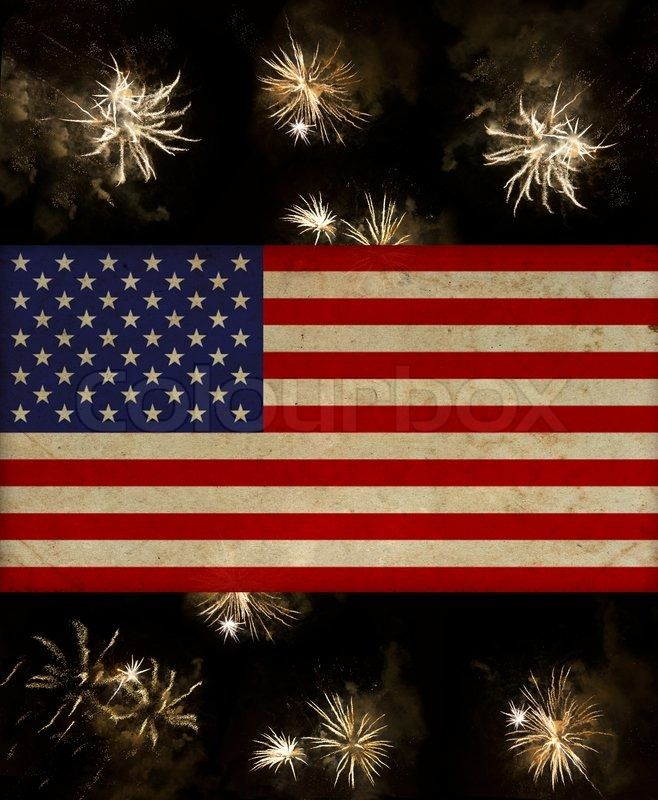 USA American Flag And Fireworks For 4th Of July Stock