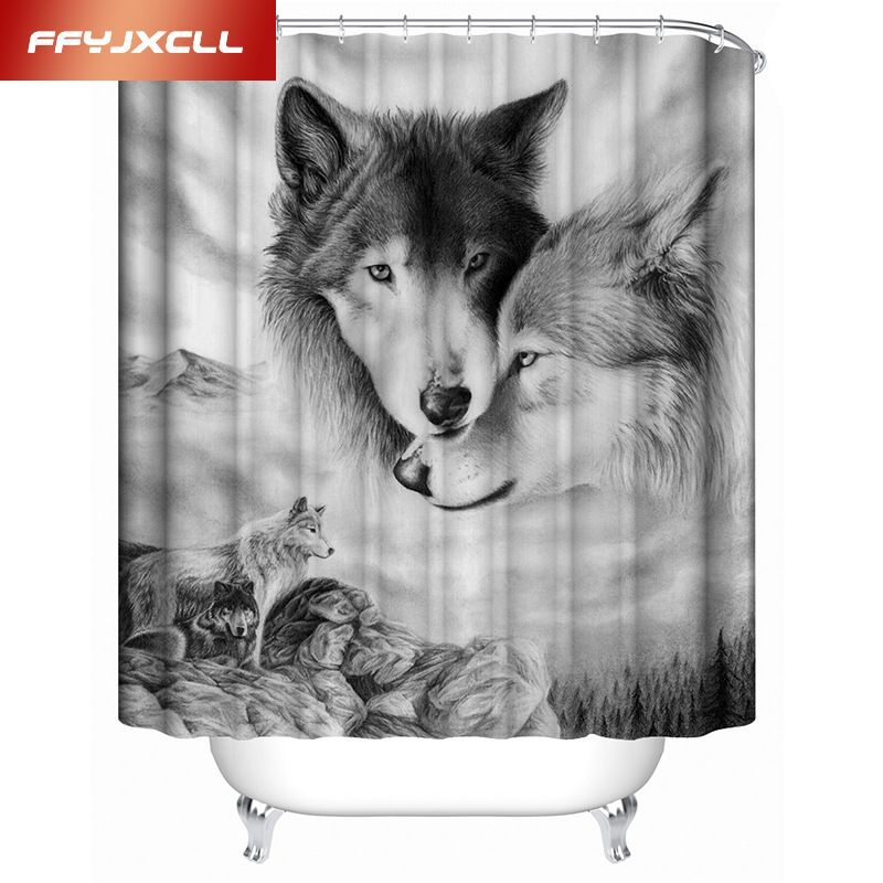 Polyester Digital Printing 3d Wolf Animal Waterproof Shower