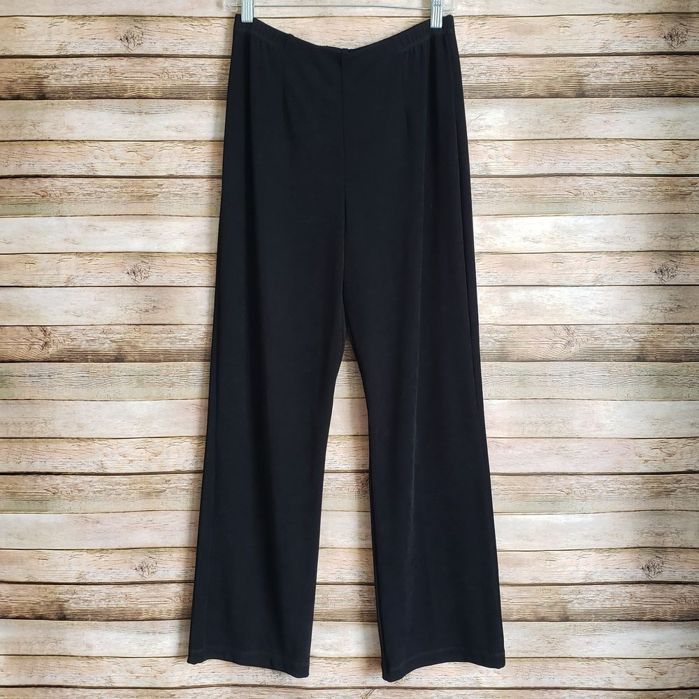 ab4b79fc1554db CHICOS Travelers Pants Size 1 Black Slinky Stretch Elastic Waist Pull On   Chicos  Straight  Casual