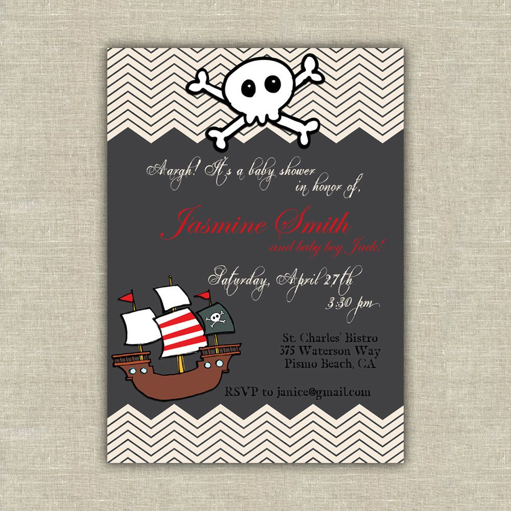 printable Pirate baby shower birthday by AmysStationeryShoppe ...