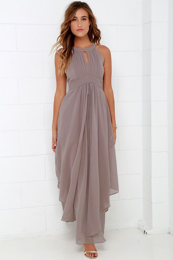 a419c7fbf1 Dream Girl Taupe Maxi Dress at Lulus.com!