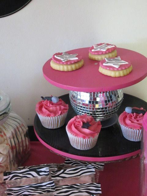 Pink Black And Zebra Birthday Party Ideas Rockstar Party Custom Mini Disco Ball Cake Decoration