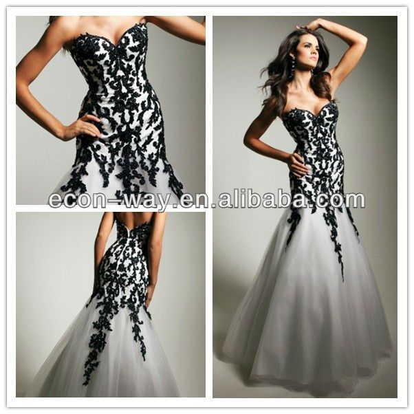 Black Mermaid Latest Strapless And White Lace Wedding Txmwabr