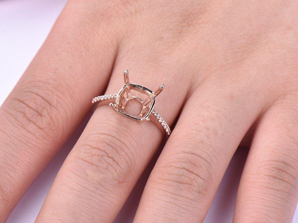Diamond Engagement Semi Mount Ring 14K Rose Gold Cushion 9.5mm ...