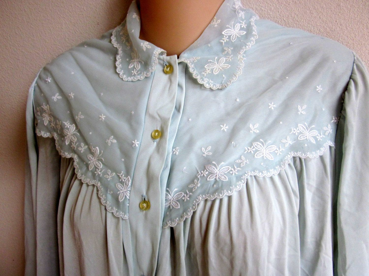 Vintage nylon nightgown pale blue free bust long granny gown L ...