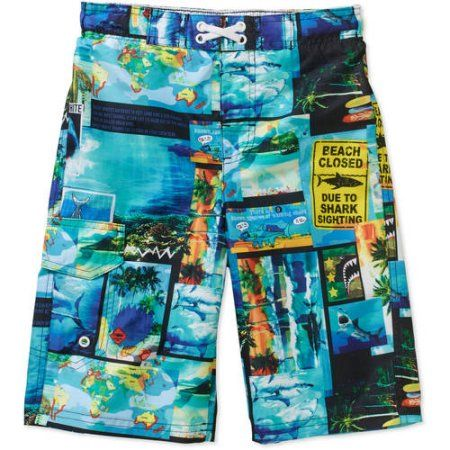 eeb5130617 Op Boys' Shark Postcard Swim Shorts, Size: 10/12, White | Products ...