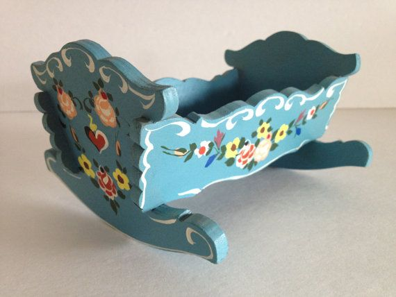 A Most Enchanting Hand Painted Rocking Baby Cradle Crib With Charming Floral Heart And Scroll