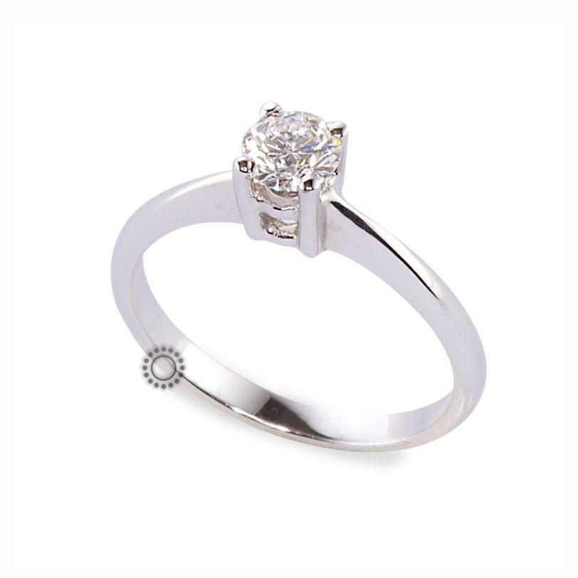 Μονόπετρο δαχτυλίδι με διαμάντι μπριγιάν από λευκόχρυσο Κ18  f846e3d5070