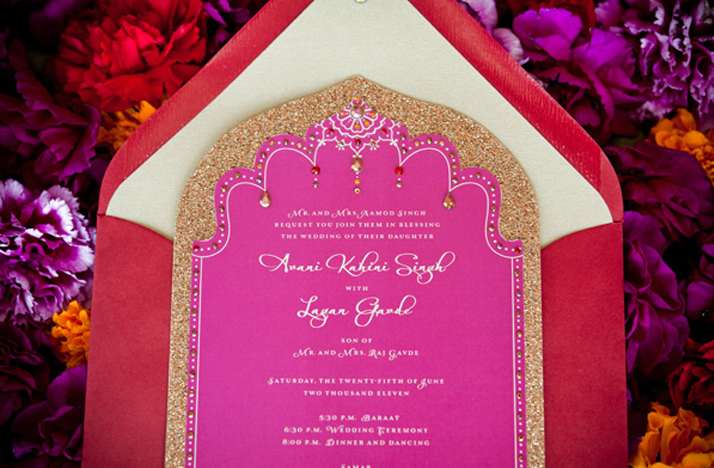 Fuschia And Orange Wedding Invitations: Hot Pink Gold Wedding Invitations Cultural Weddings Indian